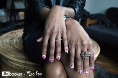 Felicia Walker Benson with custom Rock Stud nails by Miss Pop