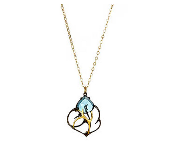 Caged Blue Topaz Necklace by Misha of NY