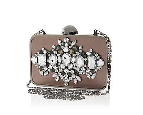 Grey metal gem stone box clutch bag