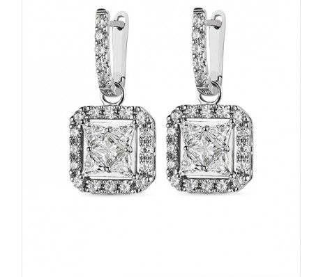 STAR PRINCESS MOISSANITE HALO EARRINGS