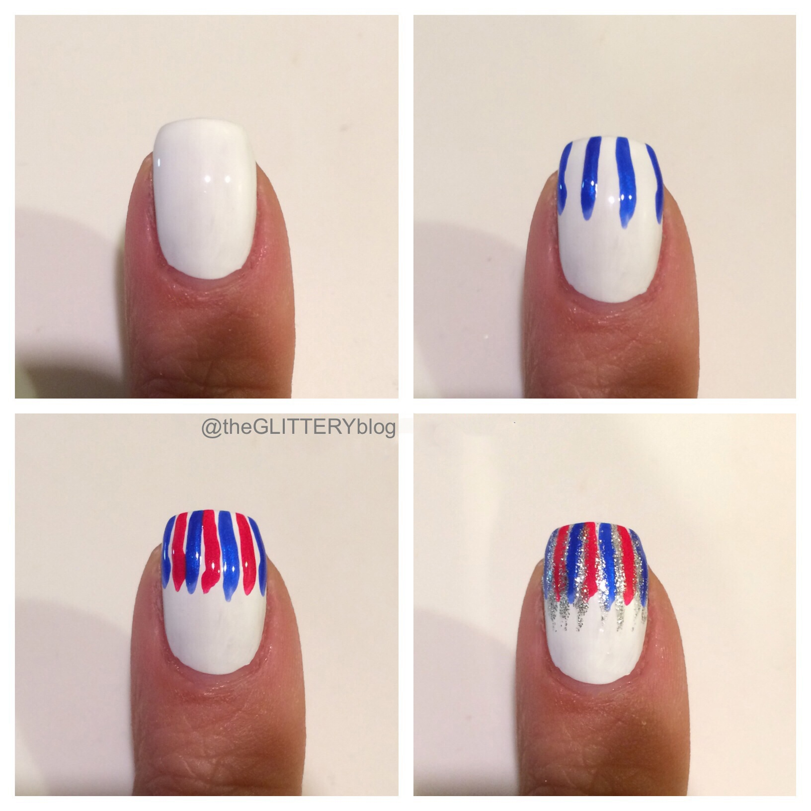 Mani of the week diy 4th of july fireworks nail art steps prinsesfo Images