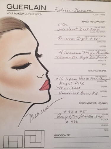 My personalized face chart from Guerlain