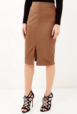 River Island Faux-Suede Split Front Pencil Skirt